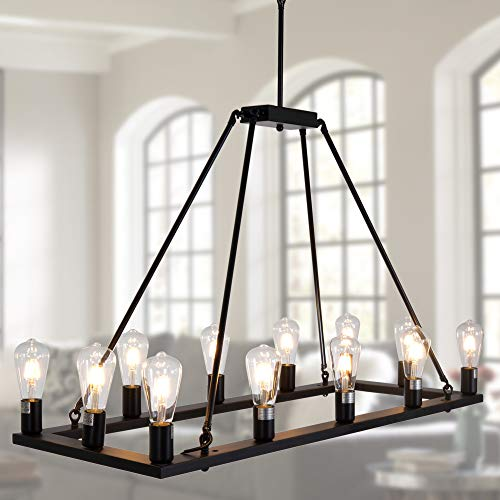 OSAIRUOS Rectangle Vintage Chandelier Kitchen Island Rustic Pendant Wagon W Farmhouse Antique Industrial Chandeliers Ceiling Light Fixture For Dining Living Room Cafe Hallways Entryway 12 Lights W39 0