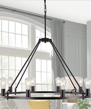 OSAIRUOS W39 Vintage Rustic Rod Iron Chandelier Farmhouse Ceiling Pendant Chandeliers Lighting Fixture Industrial Decor Round Island 10 Lights For Living Room Hotel Church Cafe Shops Bronze 0 300x360