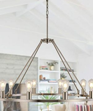 OSAIRUOS W39 Vintage Rustic Rod Iron Chandelier Farmhouse Ceiling Pendant Chandeliers Lighting Fixture Industrial Decor Round Island 10 Lights For Living Room Hotel Church Cafe Shops Nickel 0 300x360