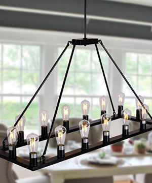 OSAIRUOS W47 Rectangle Vintage Chandelier Kitchen Island Lighting Rustic Pendant Farmhouse Industrial Chandeliers Ceiling Light Fixture For Dining Living Room Cafe Hallways Entryway 16 Lights 0 300x360