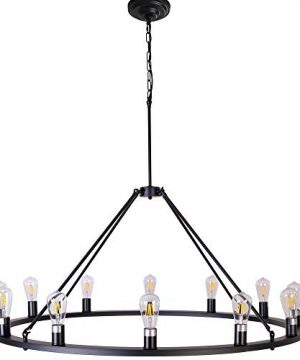 OSAIRUOS W47 Vintage Rustic Rod Iron Chandelier Farmhouse Ceiling Pendant Chandeliers Lighting Fixture Industrial Decor Round Island 12 Lights For Living Room Hotel Church Cafe Shops Painted Black 0 300x360