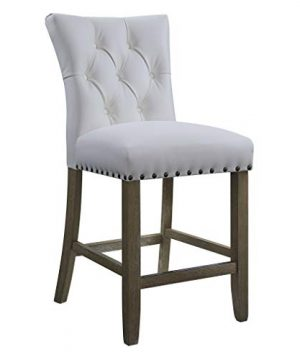 OSP Home Furnishings Preston 24 Counter Stool With Tufted Back Brushed Rustic Wood Legs And Nailhead Accents 2 Pack White Bonded Leather 0 300x360