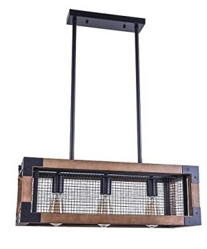 OYIPRO Industrial Kitchen Island Light 3 Lights Chandelier Farmhouse Hanging Fixture Retro Ceiling Light Rectangular Rectangle Wooden Metal Caged Gua 0 0 300x360