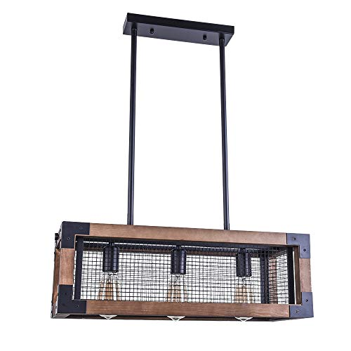 OYIPRO Industrial Kitchen Island Light 3 Lights Chandelier Farmhouse Hanging Fixture Retro Ceiling Light Rectangular Rectangle Wooden Metal Caged Gua 0 0