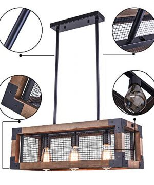 OYIPRO Industrial Kitchen Island Light 3 Lights Chandelier Farmhouse Hanging Fixture Retro Ceiling Light Rectangular Rectangle Wooden Metal Caged Gua 0 1 300x360