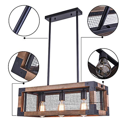 OYIPRO Industrial Kitchen Island Light 3 Lights Chandelier Farmhouse Hanging Fixture Retro Ceiling Light Rectangular Rectangle Wooden Metal Caged Gua 0 1