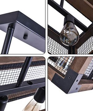 OYIPRO Industrial Kitchen Island Light 3 Lights Chandelier Farmhouse Hanging Fixture Retro Ceiling Light Rectangular Rectangle Wooden Metal Caged Gua 0 2 300x360
