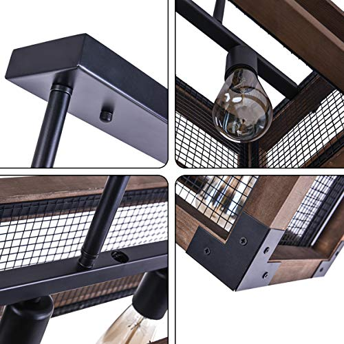 OYIPRO Industrial Kitchen Island Light 3 Lights Chandelier Farmhouse Hanging Fixture Retro Ceiling Light Rectangular Rectangle Wooden Metal Caged Gua 0 2