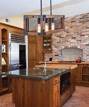 OYIPRO Industrial Kitchen Island Light 3 Lights Chandelier Farmhouse Hanging Fixture Retro Ceiling Light Rectangular Rectangle Wooden Metal Caged Gua 0 3 300x360