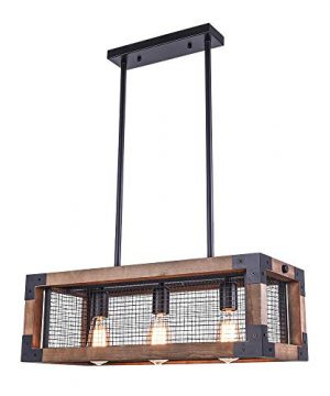 OYIPRO Industrial Kitchen Island Light 3 Lights Chandelier Farmhouse Hanging Fixture Retro Ceiling Light Rectangular Rectangle Wooden Metal Caged Gua 0 300x360