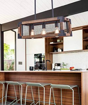 OYIPRO Industrial Kitchen Island Light 3 Lights Chandelier Farmhouse Hanging Fixture Retro Ceiling Light Rectangular Rectangle Wooden Metal Caged Gua 0 4 300x360