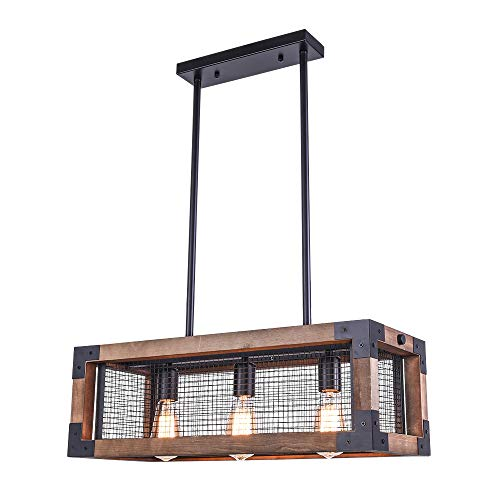 OYIPRO Industrial Kitchen Island Light 3 Lights Chandelier Farmhouse Hanging Fixture Retro Ceiling Light Rectangular Rectangle Wooden Metal Caged Gua 0
