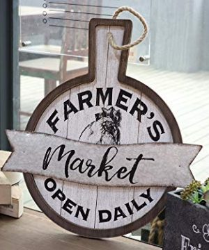 Parisloft Farmers Market Open Daily Wood And Metal Circular SignsRustic Farmhouse Kitchen Wood Sign Plaque Wall Hanging Decor 1775x05x19 0 0 300x360