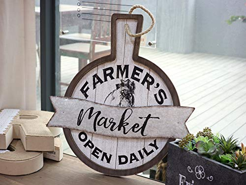 Parisloft Farmers Market Open Daily Wood And Metal Circular SignsRustic Farmhouse Kitchen Wood Sign Plaque Wall Hanging Decor 1775x05x19 0 0