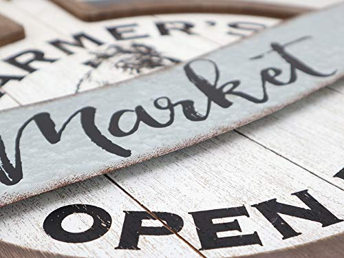 Parisloft Farmers Market Open Daily Wood And Metal Circular SignsRustic Farmhouse Kitchen Wood Sign Plaque Wall Hanging Decor 1775x05x19 0 2