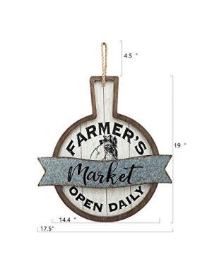 Parisloft Farmers Market Open Daily Wood And Metal Circular SignsRustic Farmhouse Kitchen Wood Sign Plaque Wall Hanging Decor 1775x05x19 0 4 300x360