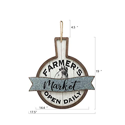 Parisloft Farmers Market Open Daily Wood And Metal Circular SignsRustic Farmhouse Kitchen Wood Sign Plaque Wall Hanging Decor 1775x05x19 0 4