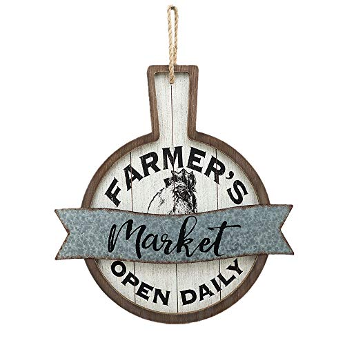 Parisloft Farmers Market Open Daily Wood And Metal Circular SignsRustic Farmhouse Kitchen Wood Sign Plaque Wall Hanging Decor 1775x05x19 0