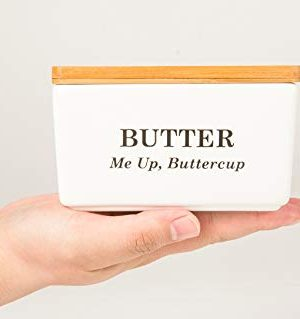 Pash Vista Butter Me Up Butter Cup Porcelain Butter Dish Secure Airtight Bamboo Lid With Seal Ring Stylish Large Porcelain Butter Dish Quality And Value 0 0 300x319