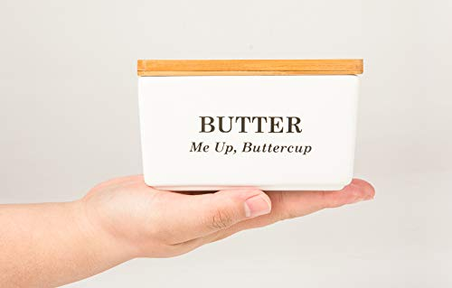 Pash Vista Butter Me Up Butter Cup Porcelain Butter Dish Secure Airtight Bamboo Lid With Seal Ring Stylish Large Porcelain Butter Dish Quality And Value 0 0