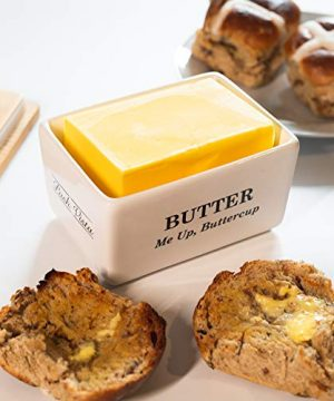Pash Vista Butter Me Up Butter Cup Porcelain Butter Dish Secure Airtight Bamboo Lid With Seal Ring Stylish Large Porcelain Butter Dish Quality And Value 0 1 300x360