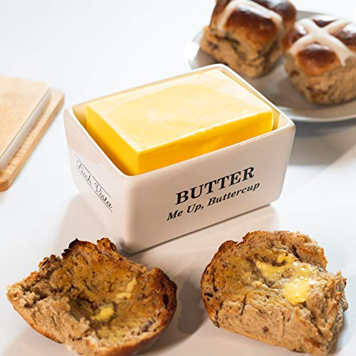 Pash Vista Butter Me Up Butter Cup Porcelain Butter Dish Secure Airtight Bamboo Lid With Seal Ring Stylish Large Porcelain Butter Dish Quality And Value 0 1