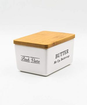 Pash Vista Butter Me Up Butter Cup Porcelain Butter Dish Secure Airtight Bamboo Lid With Seal Ring Stylish Large Porcelain Butter Dish Quality And Value 0 2 300x360