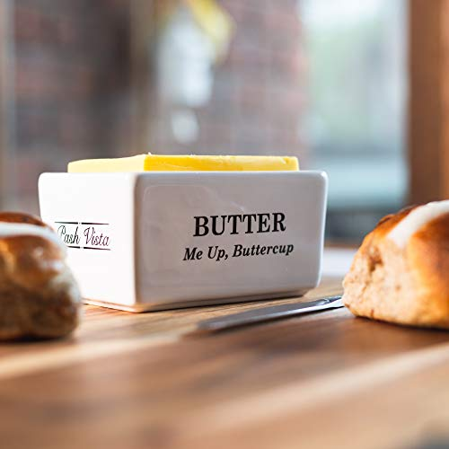 Pash Vista Butter Me Up Butter Cup Porcelain Butter Dish Secure Airtight Bamboo Lid With Seal Ring Stylish Large Porcelain Butter Dish Quality And Value 0 3