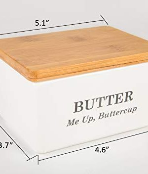 Pash Vista Butter Me Up Butter Cup Porcelain Butter Dish Secure Airtight Bamboo Lid With Seal Ring Stylish Large Porcelain Butter Dish Quality And Value 0 5 300x352