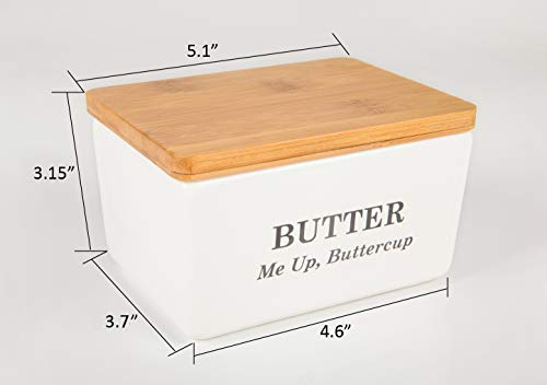 Pash Vista Butter Me Up Butter Cup Porcelain Butter Dish Secure Airtight Bamboo Lid With Seal Ring Stylish Large Porcelain Butter Dish Quality And Value 0 5