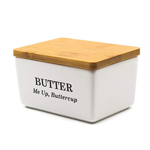 Pash Vista Butter Me Up Butter Cup Porcelain Butter Dish Secure Airtight Bamboo Lid With Seal Ring Stylish Large Porcelain Butter Dish Quality And Value 0