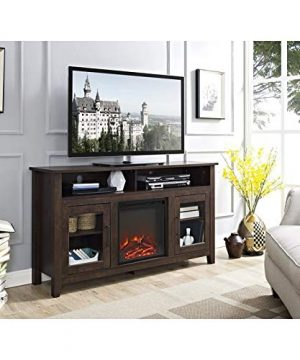 Pemberly Row 58 Tall Electric Fireplace TV Stand Console Highboy Rustic Wood With Glass Storage For TVs Up To 64 In Brown 0 0 300x360