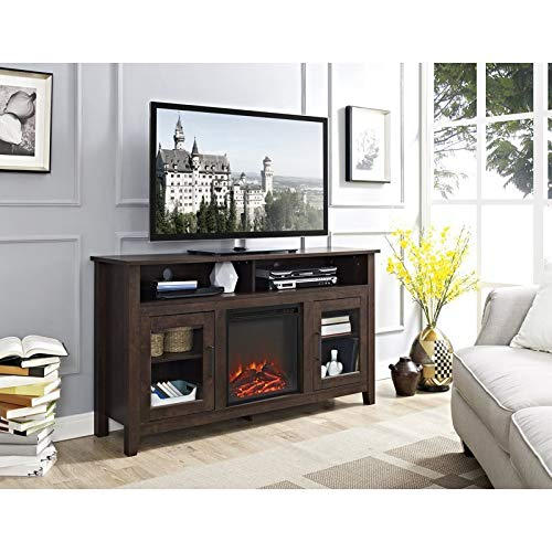 Pemberly Row 58 Tall Electric Fireplace TV Stand Console Highboy Rustic Wood With Glass Storage For TVs Up To 64 In Brown 0 0
