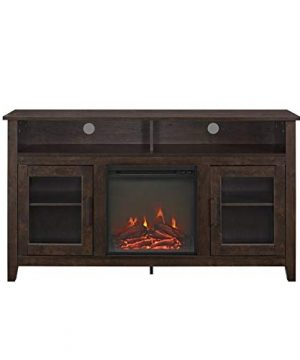 Pemberly Row 58 Tall Electric Fireplace TV Stand Console Highboy Rustic Wood With Glass Storage For TVs Up To 64 In Brown 0 1 300x360