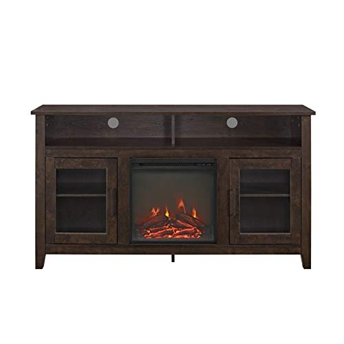 Pemberly Row 58 Tall Electric Fireplace TV Stand Console Highboy Rustic Wood With Glass Storage For TVs Up To 64 In Brown 0 1