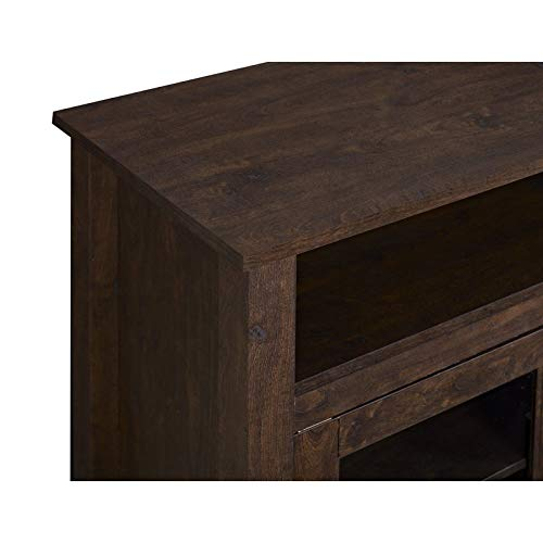 Pemberly Row 58 Tall Electric Fireplace TV Stand Console Highboy Rustic Wood With Glass Storage For TVs Up To 64 In Brown 0 2