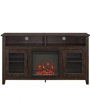 Pemberly Row 58 Tall Electric Fireplace TV Stand Console Highboy Rustic Wood With Glass Storage For TVs Up To 64 In Brown 0 3 300x360