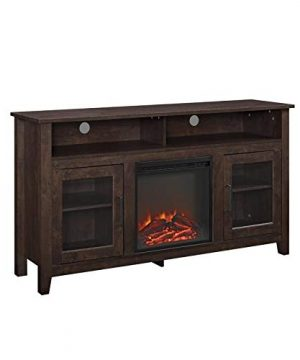 Pemberly Row 58 Tall Electric Fireplace TV Stand Console Highboy Rustic Wood With Glass Storage For TVs Up To 64 In Brown 0 300x360