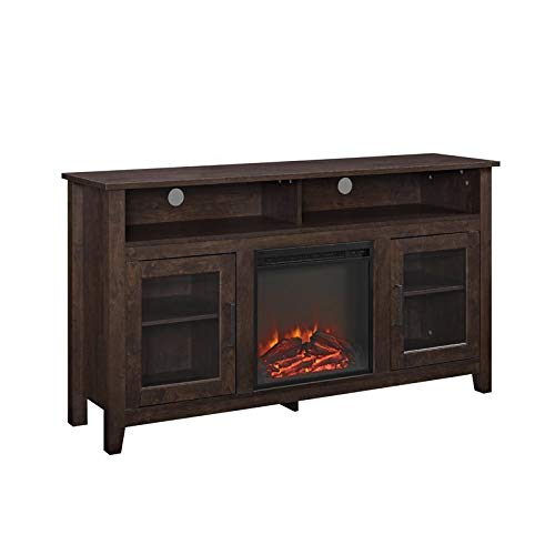 Pemberly Row 58 Tall Electric Fireplace TV Stand Console Highboy Rustic Wood With Glass Storage For TVs Up To 64 In Brown 0