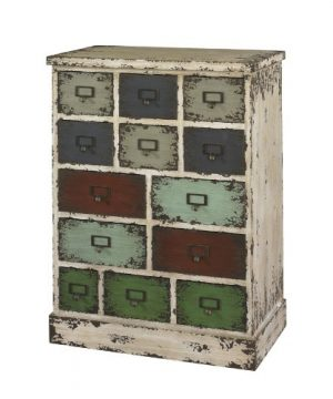 Powell Company 990 333 Parcel 13 Drawer Cabinet Distressed White 1375 X 238 X 3188 0 300x360