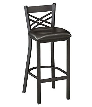 Premier Furniture Cross Back Break Room Stool Black VinylBlack Frame Dimensions 175 W X 19 D X 42 H Seat Dimensions 175 Wx16 Dx30 H Weight 13 Lbs 0 300x350