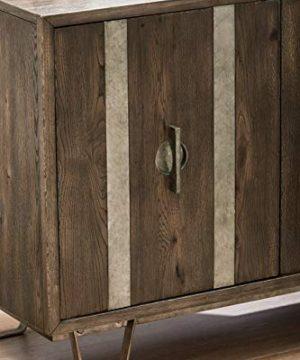 Pulaski Metal Strap Dk Oak Three Door Console Accents Brown 0 1 300x360