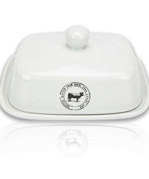 Raveler Butter Dish With Lid White Porcelain Butter Keeper Suitable For EastWest Butter Butter Container With CoverNature Inspired Design 0 0 300x360