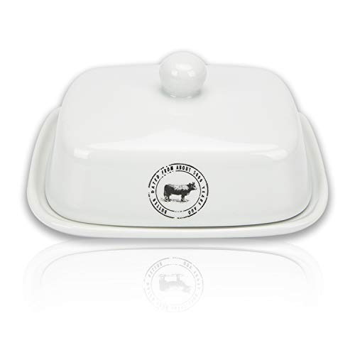Raveler Butter Dish With Lid White Porcelain Butter Keeper Suitable For EastWest Butter Butter Container With CoverNature Inspired Design 0 0