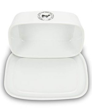 Raveler Butter Dish With Lid White Porcelain Butter Keeper Suitable For EastWest Butter Butter Container With CoverNature Inspired Design 0 1 300x360