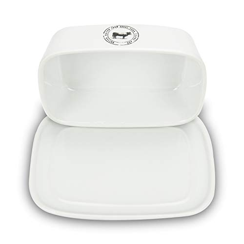 Raveler Butter Dish With Lid White Porcelain Butter Keeper Suitable For EastWest Butter Butter Container With CoverNature Inspired Design 0 1