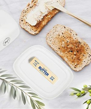 Raveler Butter Dish With Lid White Porcelain Butter Keeper Suitable For EastWest Butter Butter Container With CoverNature Inspired Design 0 5 300x360