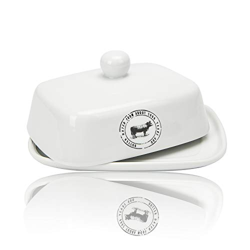Raveler Butter Dish With Lid White Porcelain Butter Keeper Suitable For EastWest Butter Butter Container With CoverNature Inspired Design 0