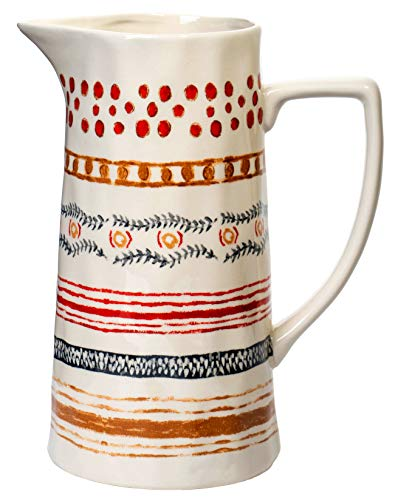 Red Co Farmhouse Spouted Handled Casual Country 64 Ounce Glossy Ceramic Stoneware Pitcher Multi Stripe 64oz 0