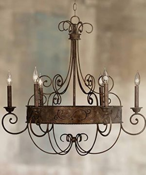 Rust Bronze Candelabra Chandelier Lighting 30 Wide Rustic Farmhouse Industrial 6 Light Fixture For Dining Room House Foyer Entryway Kitchen Bedroom Living Room High Ceilings Franklin Iron Works 0 300x360